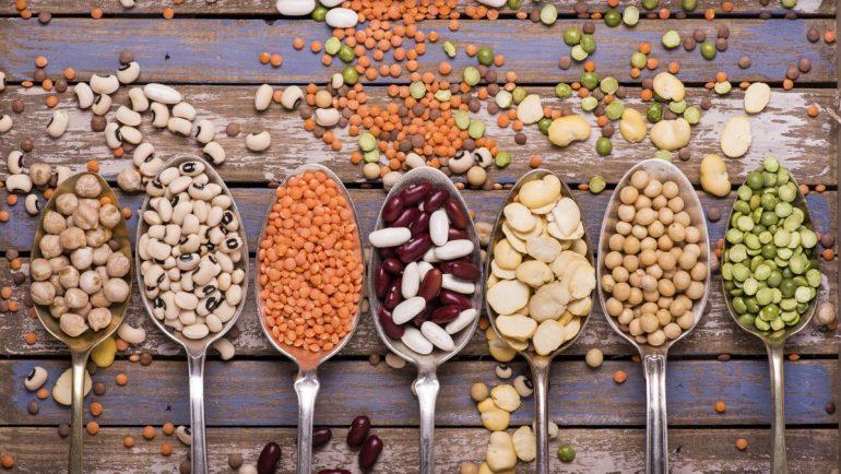 verschiedene Hülsenfrüchte auf Löffeln