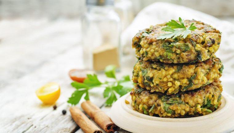 Hirse-Kichererbsen-Burger Pflanzenprotein
